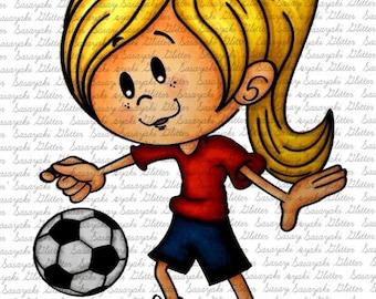 Image #123 - Footballer Girl - Digital Stamp By Sasayaki Glitter Digital stamps - Naz Smith - Line art only - Black and White