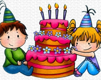 Image #54 - It's Our Birthday -  Digital Stamp by Sasayaki Glitter Stamps - Naz - Line art Only - Black and White