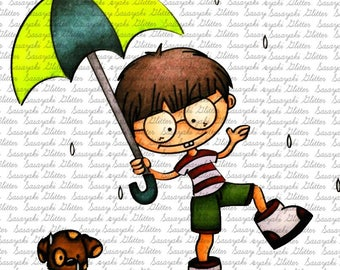 Image #41 - Boy and Puppy In the Rain - Digital Stamp by Sasayaki Glitter - Naz Smith - Line art only - Black and White