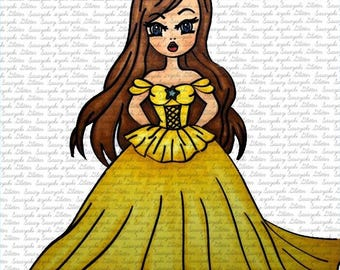 Image #73 - Princess digital Stamp by Sasayaki Glitter - Naz Smith - Black and White - Lineart only