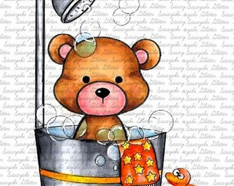 Bath Teddy By Sasayaki Glitter Digital Stamps. Black and White Only