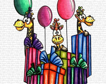 IMAGE #163 - BIRTHDAY GIRAFFES  Digital Stamp by Sasayaki Glitter digital stamps- Naz- Black and White and Coloured