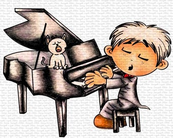 Image #110 Piano Shy Digital Stamp by Naz Smith - Sasayaki Glitter, Line Art only. Black and White