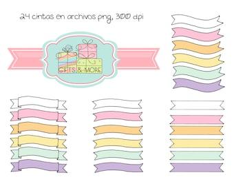 Set de cintas de color pastel con fondo transparente***INSTANT DOWNLOAD***