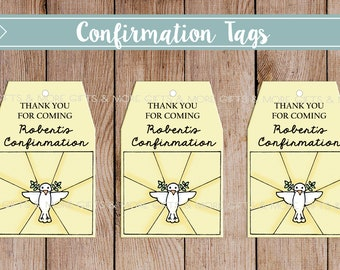 DIY ***PRINTABLE*** Religious Confirmation Tags with Personalization