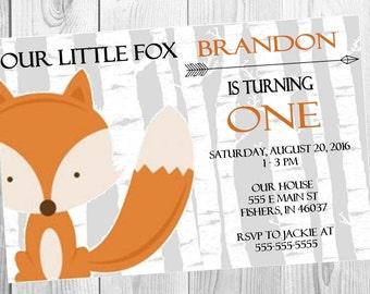 Fox Birthday Invitation