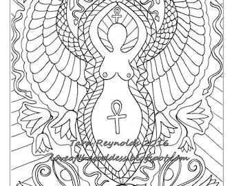 Goddess Art Coloring Pages For Adults Printable Page Pagan Mandala Wall Isis Egyptian Print Digital