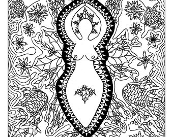 Winter Solstice Pagan Art Coloring Page Printable Yule Goddess Adult