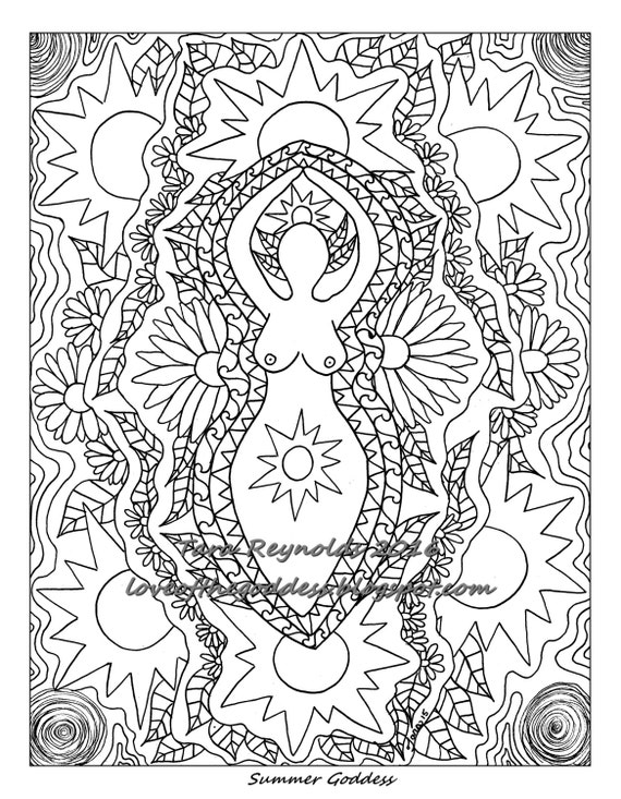 Printable Coloring Page Pages Summer Solstice Goddess