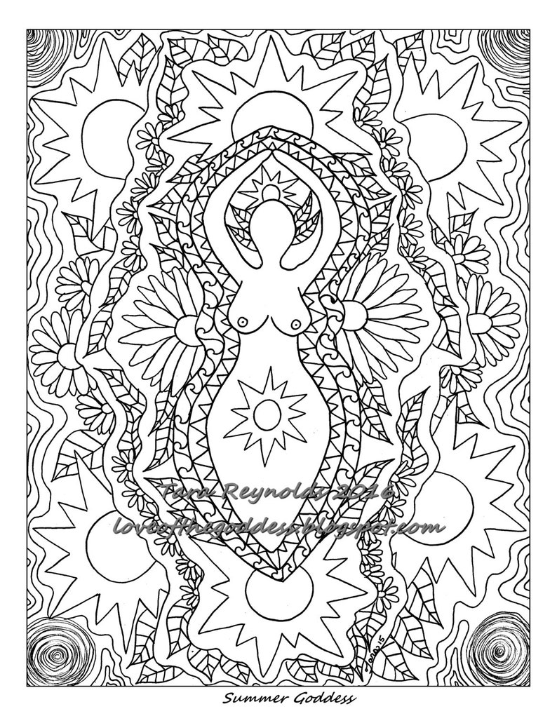 - Printable Coloring Page Coloring Pages Summer Solstice Goddess Etsy