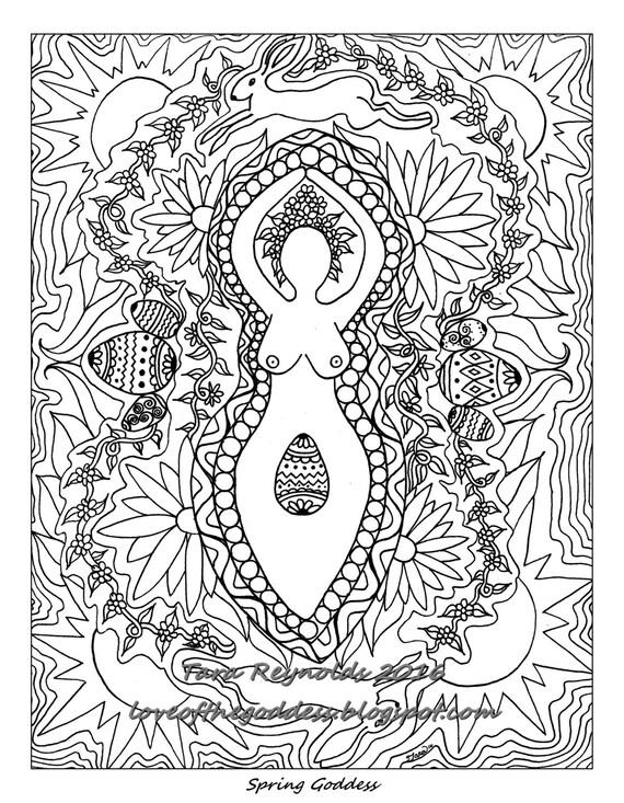 Coloring Book Page Printable Coloring Pages Ostara Sabbat | Etsy