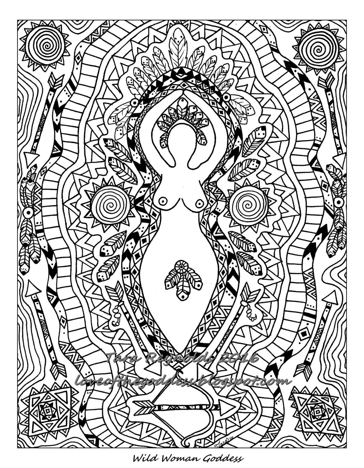 Goddess Art Coloring Pages for Adults Goddess Coloring Page | Etsy