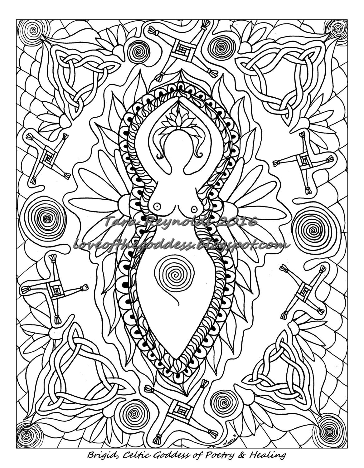 Spiritual Art Goddess Brigid Coloring Pages For Adults St