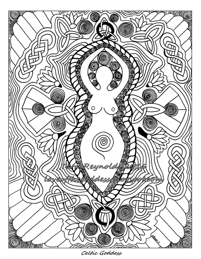 - Coloring Page Celtic Art Goddess Print Adult Coloring Page Etsy