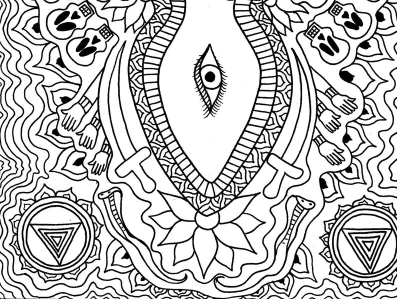 Goddess Kali Art Coloring Page Mandala Coloring Page ...