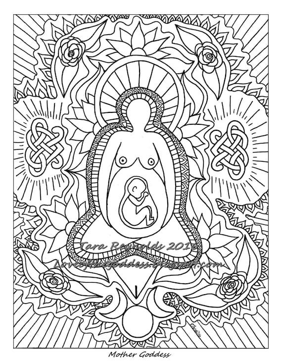 Celtic Kleurplaten Voor Volwassenen Pagan Art Earth Goddess Art Mandala Coloring Page Divine