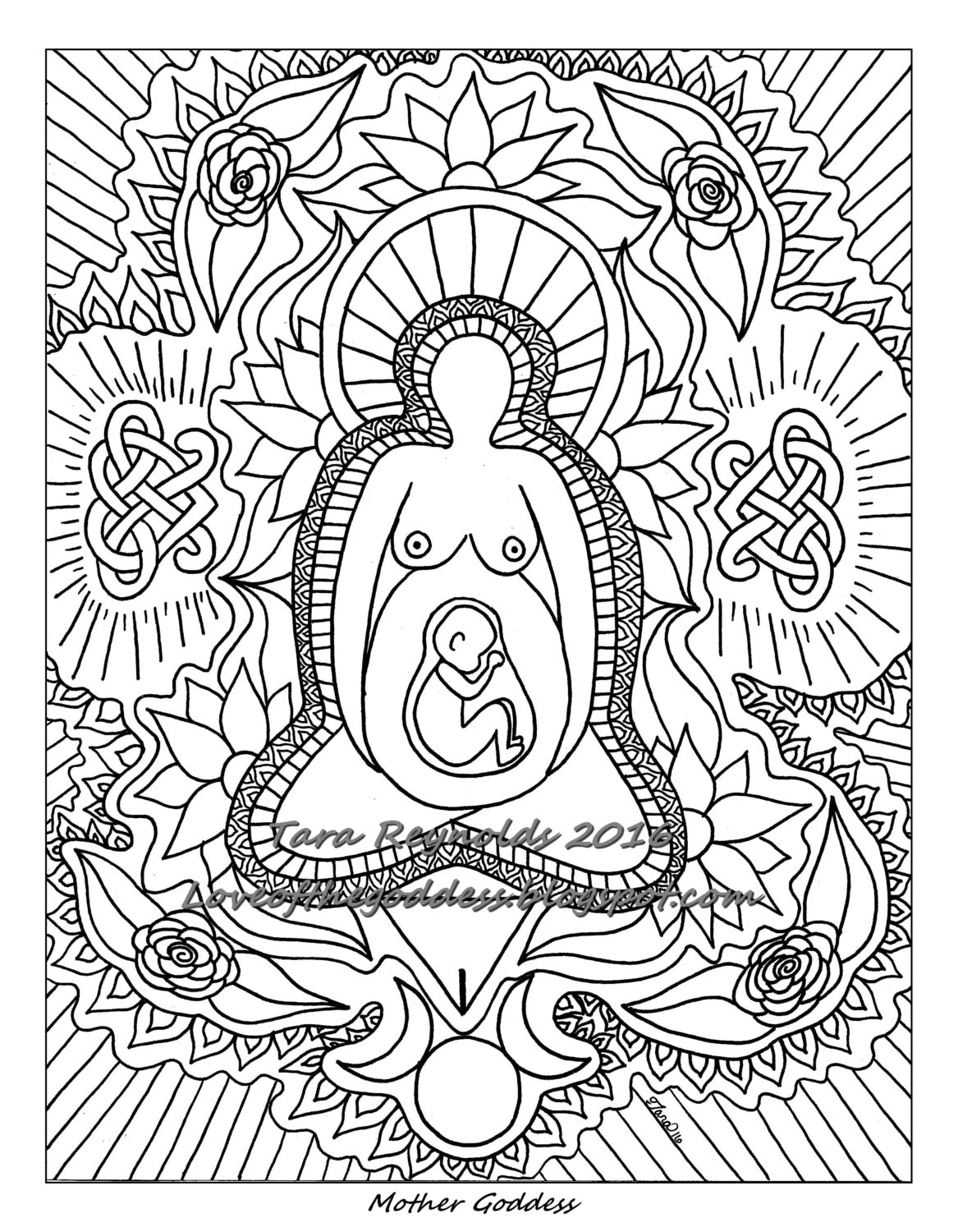 Pagan Art Earth Goddess Art Mandala Coloring Page Divine | Etsy