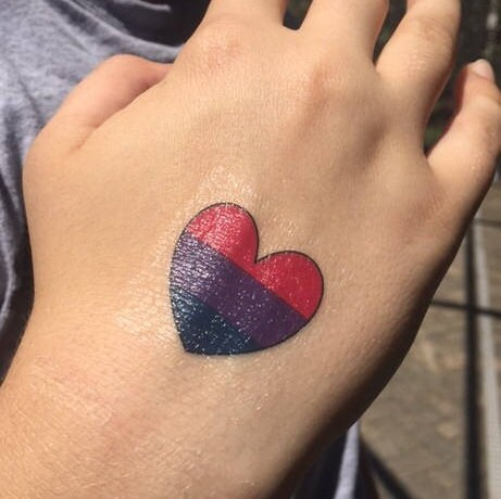 Bisexual pride symbol tattoo