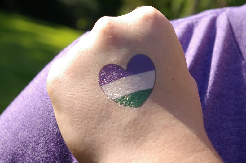 Genderqueer Heart Temporary Tattoo image 0