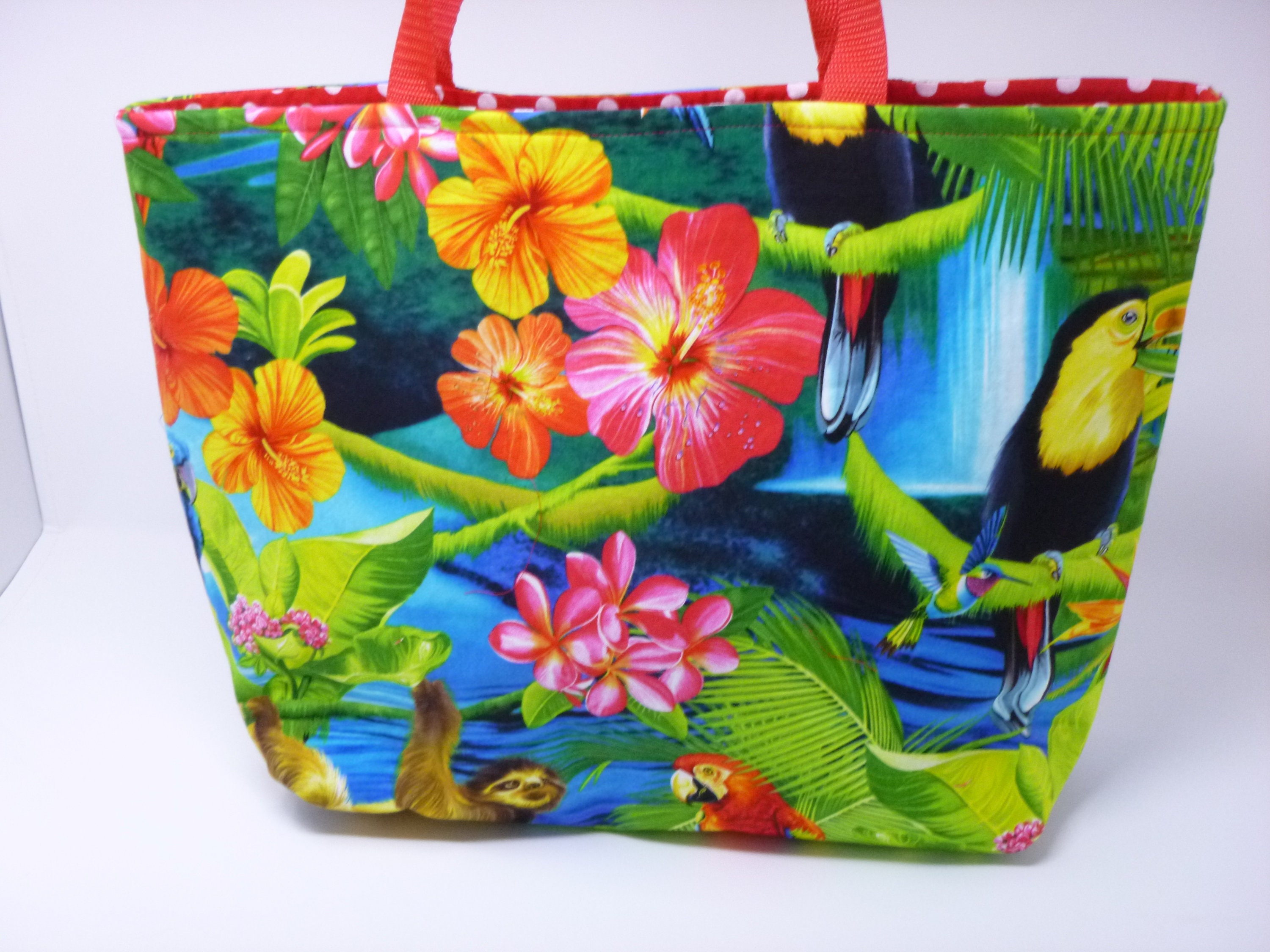 Tropical Tote Bag | Tropical Handbag | Shopping Bag | Fabric Tote Bag |  Hobby Tote Bag | Storage Tote Bag | Baby Tote Bag | Fabric Purse