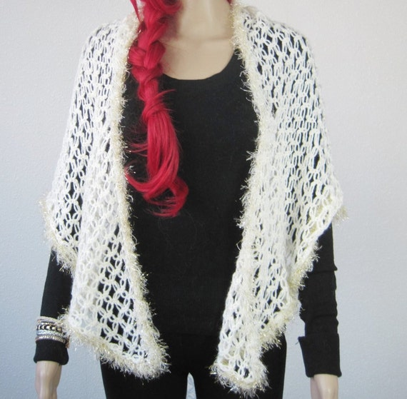 a7d035470 Crochet Lace Shawl off white angora yarn glitter