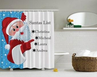 Christmas Decoration Shower Curtain Santa Decor Bathroom Gift For Grandma Mom Clause