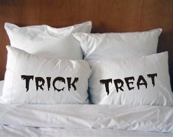 Trick and Treat,His and Hers Halloween Pillowcases  #28