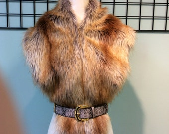 Gold fox faux fur collar