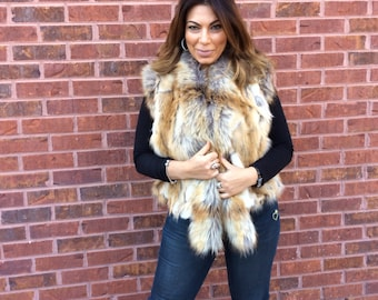 Gold fox faux fur vest