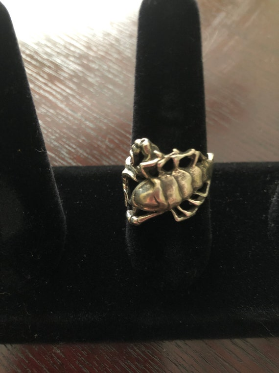 Scorpion sterling silver antique ring