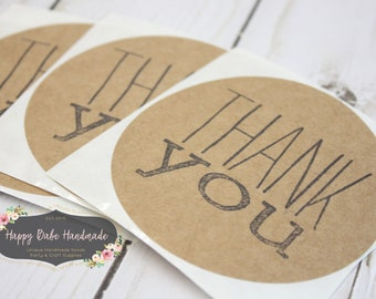 Thank You Sticker, Large Kraft Sticker, 3 Inch, Wedding Thank You, Thank You, Gift Wrap, Store Packaging, Shop Supplies, Wedding Gift Wrap