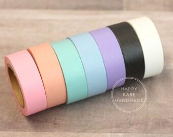 "Solid Color Washi, Pastel Washi Tape, Set of 7, 9/16"", 10 Yds Each, Decorative Tape, Solid Washi Tape, Mint Washi, Pink Washi, Peach Washi"