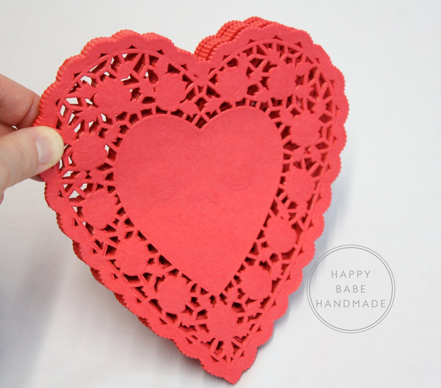 25 Red Heart Doilies 6 Inch Red Doilies Paper Doilies | Etsy