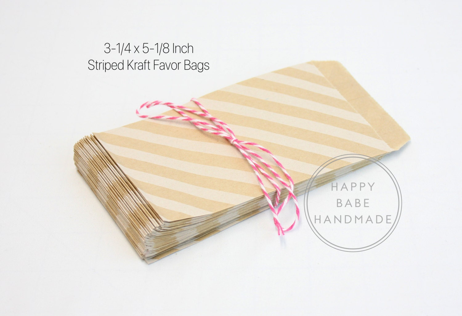 20 Striped Paper Bags, 3-1/4 x 5-1/8 Inch, Favor Bag, Welcome Bag ...