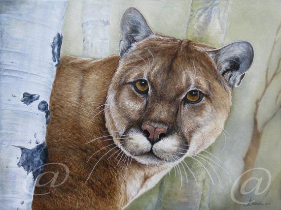 Ordenanza del gobierno al revés desconocido  Original óleo pintura puma león de montaña puma gato | Etsy