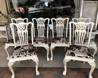 Vintage Clawfoot French Country Dining Chairs Faux Brown White Cowhide Six