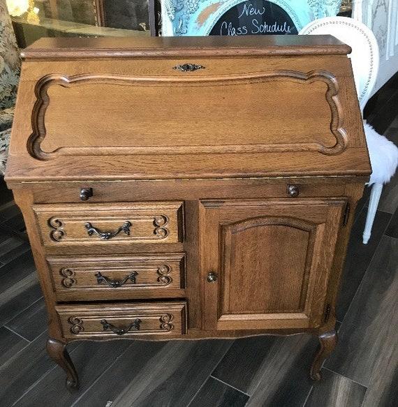 Antique Drop Front Secretary Desk >> Vintage French Country Drop Front Secretary Desk Oak