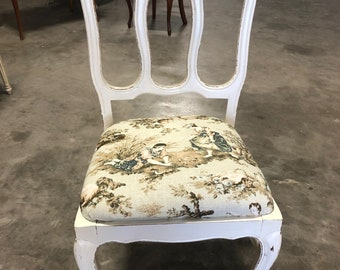 Vintage Antique French Country Dining Chair White Toile