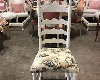 Vintage Antique French Country Ladderback Dining Chair White Toile