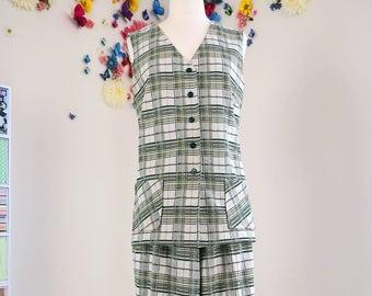 Cuffed Hem Button Up Vest 1970s Plaid Pantsuit Vintage Two Piece Leisure Suit Pockets Wide Leg LargeExtra Large Sewn In Seam