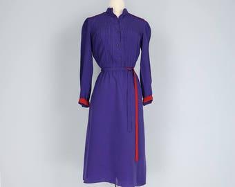 1980s Dress - Midi Shirt Dress - Flare Skirt - Purple - Long Sleeve - Red Trim - Button Up - Tuxedo Shirt Seams - Belted - S/M
