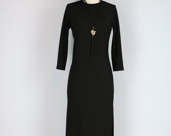 1970s Dress - Black Maxi Dress - Body Con - Long Sleeve - High Neck - Side Slits - Sexy Boho Chic - Size Small Medium