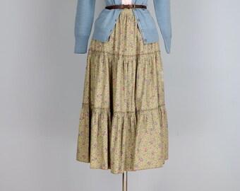 "1980s Skirt - Boho Floral Tiered Full Midi Skirt - Small 26"" Waist - Vintage Peasant Skirt - Summer - Cotton - Beige Blue - Hippie"