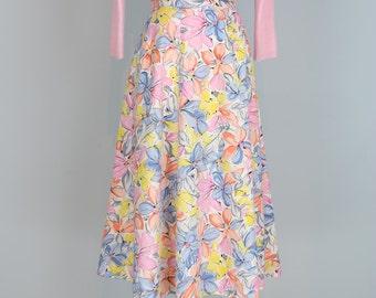 """1950s Skirt - Vintage Pastel Floral Midi Full Flare Skirt - Med 30"""" Waist - Pink Blue White Yellow - Cotton - Handmade - Spring Summer"""