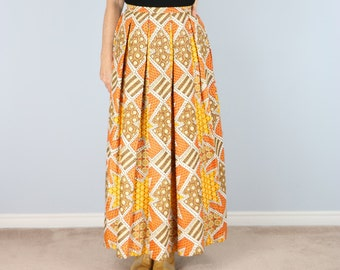 "1970s Skirt - Vintage Boho 70s Maxi Skirt - Small 26"" Waist - A-line Pleated Full Midi - Geometric Print - Gold Orange Yellow - Hippie Skirt"