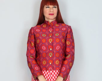 1960s 70s Jacket - Asian Cheongsam Red Jacquard Patterned Jacket - Floral Multicoloured - Statement Jacket - Mandarin Collar - Size Small