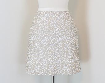 VINTAGE 90s Gold Sequin Mini Skirt Small 1990s Gold Tube Skirt