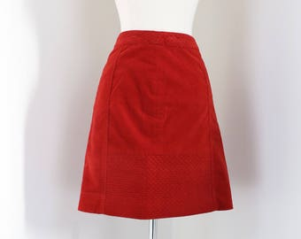 """1990s Skirt - Orange Velvet Skirt - Quilted Short Pencil Skirt - Anthropologie - Size Small  27"""" Waist"""