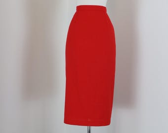 """80s Does 60s Pencil Skirt - Sexy Vintage Red Midi - Back Slit Accordian Fold - Wiggle Skirt - Pinup Mad Men Style - Size Small 27"""" Waist"""