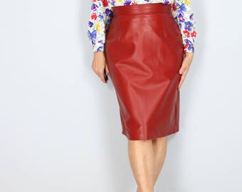 """1980s Skirt - Red Leather Pencil Skirt - Sexy Fitted Midi Skirt - Soft Leather - High Waisted - Clubbing Party Pinup - Size Medium Waist 29"""""""